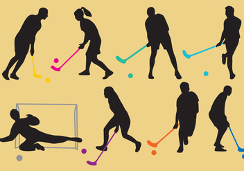 Floorball Silhouette Vectors - бесплатный vector #354289