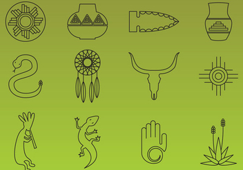 Southwest Thin Line Icon Vectors - Free vector #354329