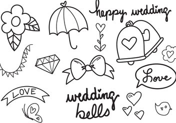 Wedding Bells Hand Drawn Vector Set - vector #354339 gratis