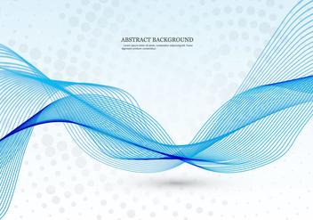 Blue Wave On Dotted Background - vector gratuit #354359