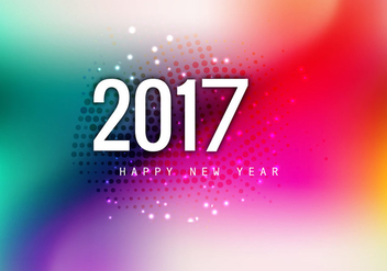 Beautiful Happy New Year 2017 Card - vector #354399 gratis