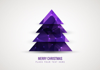 Purple Low Polygon Style Christmas Tree - Kostenloses vector #354469