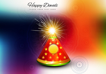 Diwali Firecracker On Colorful Background - vector gratuit #354529