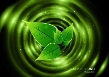 Eco Green Leaves On Dark Background - vector gratuit #354549