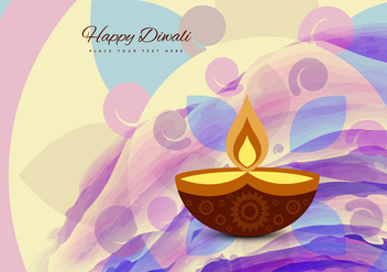 Happy Diwali Text With Glowing Diya - Free vector #354589