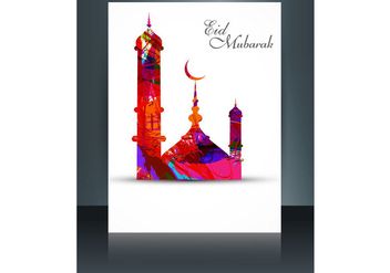 Eid Mubarak With Mosque On Card - vector gratuit #354629