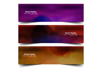 Watercolor Splashes Banner - Free vector #354689