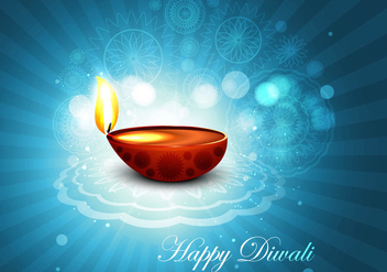 Oil Lit Lamp On Rangoli - vector gratuit #354709