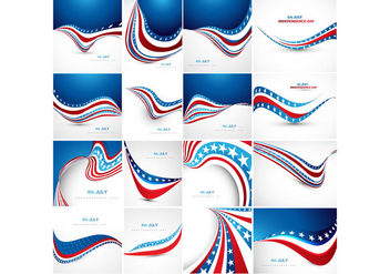 Various Banner Of American Flag - vector gratuit #354719