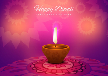 Burning Decorated Diya On Colorful Rangoli - Free vector #354749