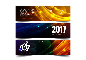 Set Of New Year 2017 Banners - Free vector #354759