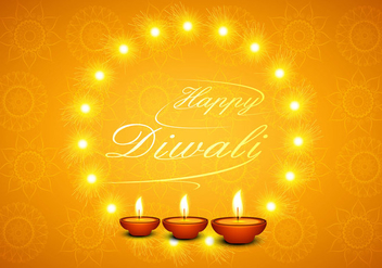 Happy Diwali Greeting Card With Glowing Diyas - Free vector #354819
