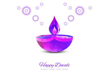 Purple Diya On White Background - vector gratuit #354829