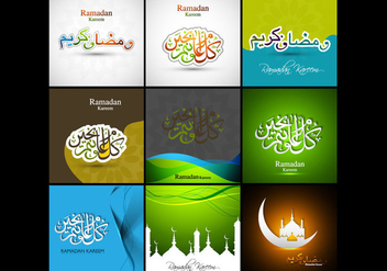 Collection Of Ramadan Kareem Card - vector gratuit #354839