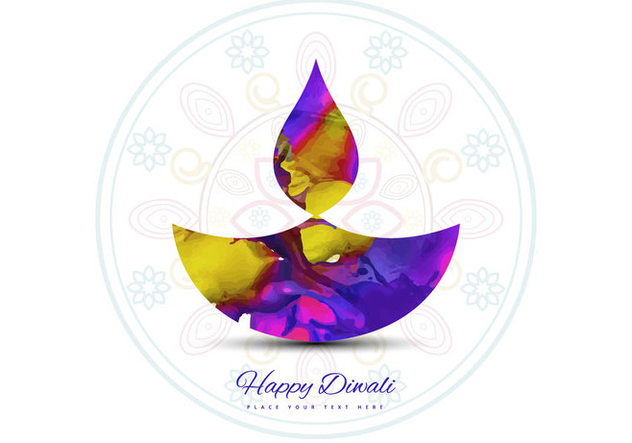 Watercolor Diwali Diya On Rangoli - vector gratuit #354889