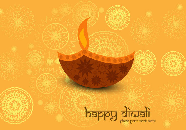 Decorative Diya On Diwali Card - vector gratuit #354899