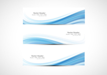 Abstract Header With Design Of Blue Wave - vector gratuit #354909