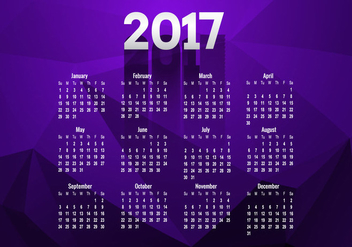 Calendar Of Year 2017 - vector #354929 gratis