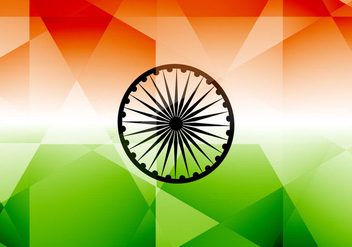 Indian Flag With Polygon Shape - Free vector #355029
