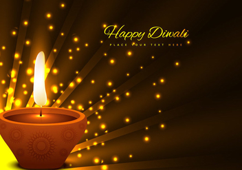 Glowing Diya On Brown Background - vector gratuit #355139