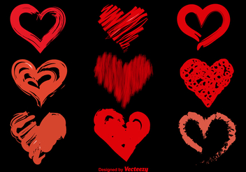 Hand Drawn Sketchy Vector Hearts - vector gratuit #355339