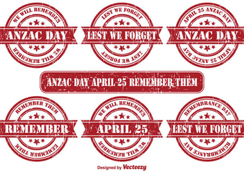 Anzac Day Vector Grunge Stamps - Free vector #355629