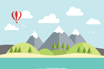 Mountain lake flat landscape - Free vector #355809