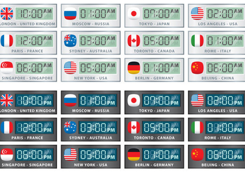 International Digital Clock Vectors - бесплатный vector #355869