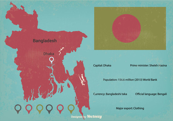 Retro Bangladesh Vector Map Illustration - vector #355889 gratis