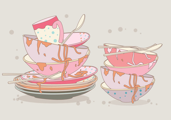 Dirty Dishes Vector - vector gratuit #355989