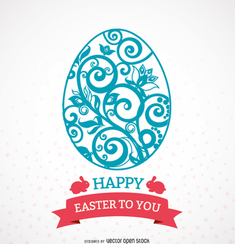 Ornamented Easter egg with message ribbon - бесплатный vector #356049