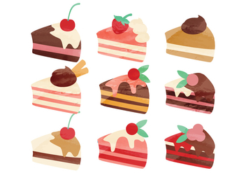 Vector Watercolor Pieces of Cake - vector gratuit #356199