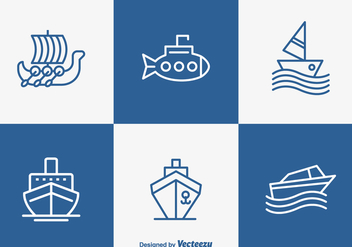 Free Outlined Boat And Ship Vector Icons - vector gratuit #356369