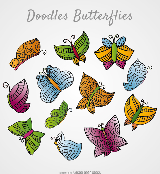 Colorful and decorated butterflies - vector gratuit #356449