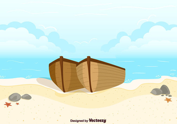 Boats On Beach Background Vector - Free vector #356829