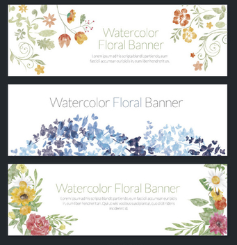 Delicate set of 3 watercolor floral banners - vector gratuit #356919
