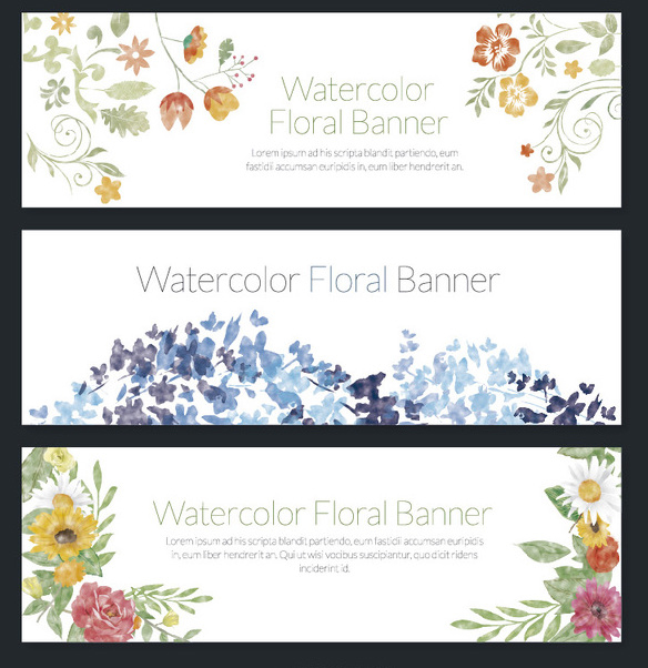 Delicate set of 3 watercolor floral banners - бесплатный vector #356919