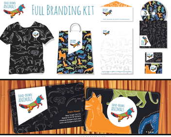 Full branding hand-drawn animals kit - Free vector #356929