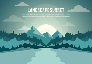 Free Landscape Sunset Illustration Vector Background - Free vector #357039