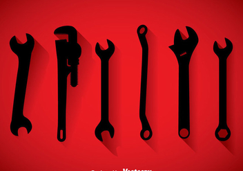 Wrench Black Icons Vector - Kostenloses vector #357109