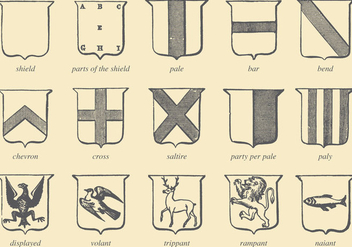 Old Style Drawing Heraldic Vectors - Free vector #357199