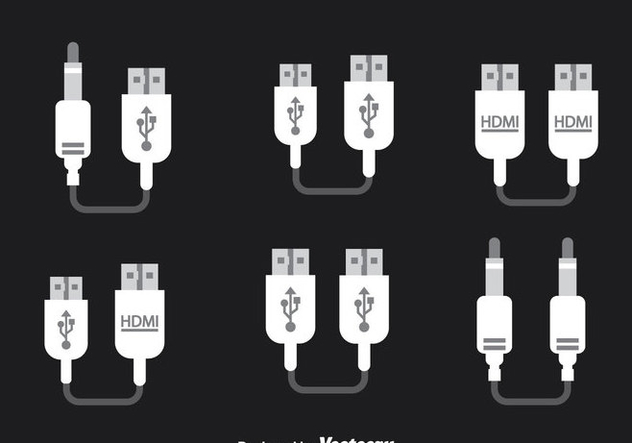 Wire Cable Adapter Icons Vector - Free vector #357339