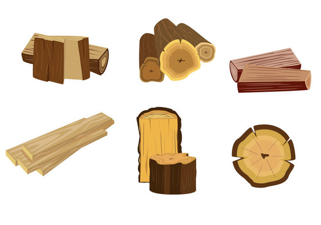 Isolated Wood Logs Vector - бесплатный vector #357349