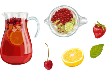 Sangria Pitcher Vector Set - бесплатный vector #357379