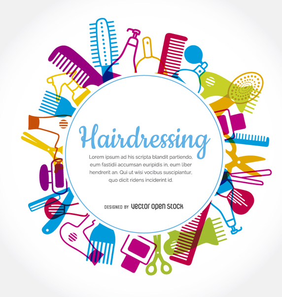 Hairdressing elements rounded frame - Free vector #357429