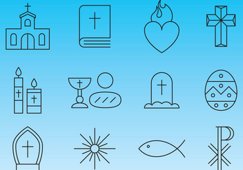 Religion Line Icon Vectors - бесплатный vector #357619
