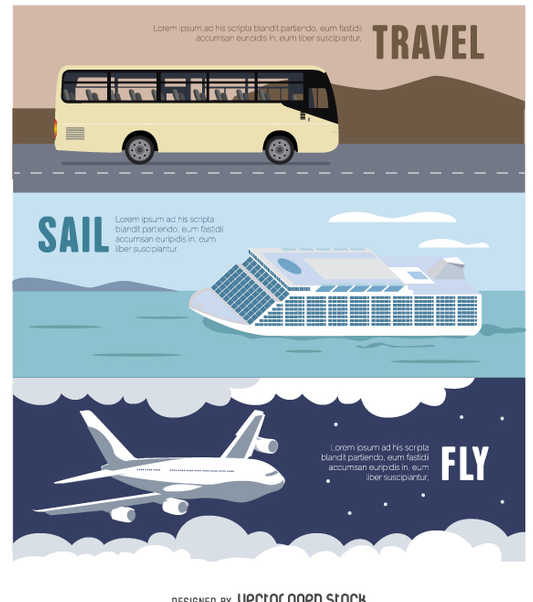Travel Banner - Bus - Airplane - Ferry - Free vector #357679