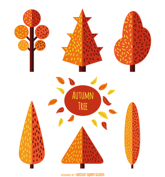 Autumn Tree Set - Flat style - vector gratuit #357689
