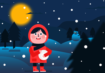 Vector Winter Night Background - бесплатный vector #357779
