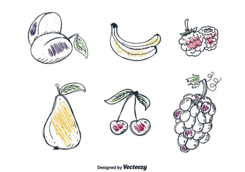 Hand Drawn Fruits Set Vector - vector gratuit #357789